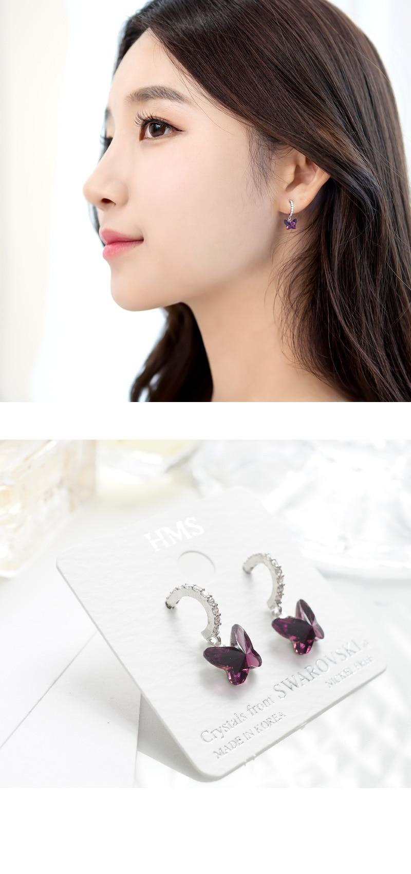 스와로브스키 크리스탈 나비 롱 드롭 퍼플 귀걸이 ESG3172 - 비욘드라이프, 13,600원, 진주/원석, 드롭귀걸이